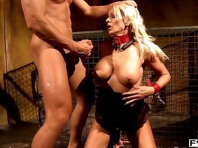 Blonde BDSM Milf Winni gets bound and treated as a dog by dominant stud